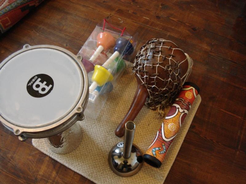 Darbuka, hand bells, didgeshake,helix bowl